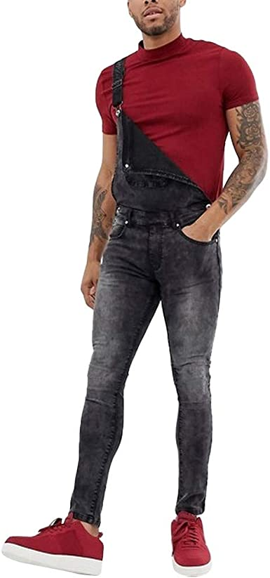 Stylish Men/'s Denim Straight Pants Suspender Trousers Overalls Slim Skinny Jeans