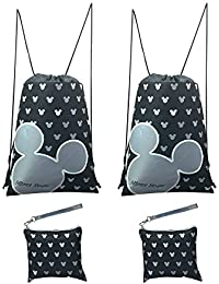 Disney Mickey Mouse Glow in the Dark Drawstring Backpack Pack of 4 (Silver) Includes 2 Drawstrings and 2 Wristlets