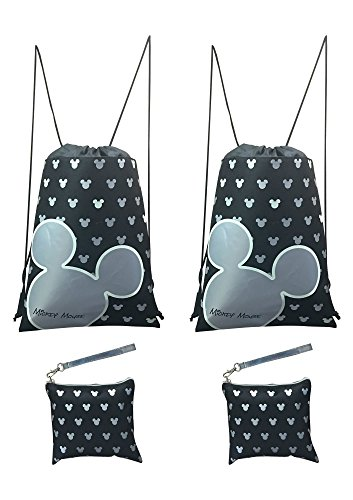 Disney Mickey Mouse Glow in the Dark Drawstring Backpack Pack of 4 (Silver) Includes 2 Drawstrings and 2 Wristlets - Walt Disney World Ears