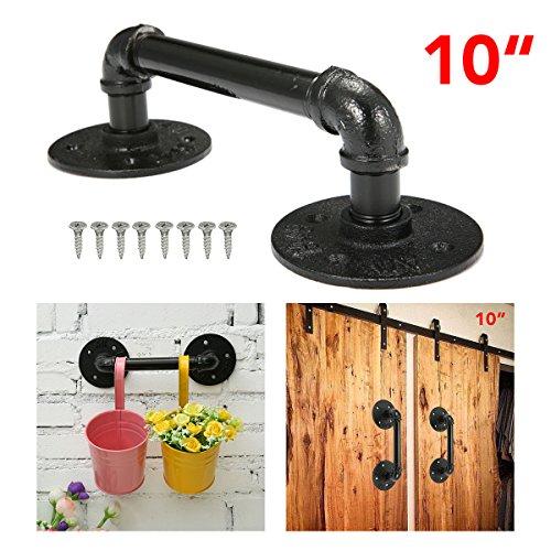 KINGSO 10'' Industrial Retro Cast Iron Pipe Door Handle Pipe Door Pull Towel Bar Iron Handrail Steampunk Pipe Drawer Bar Cupboard Door Pulls Door Knobs Black (10' Bar Towel)