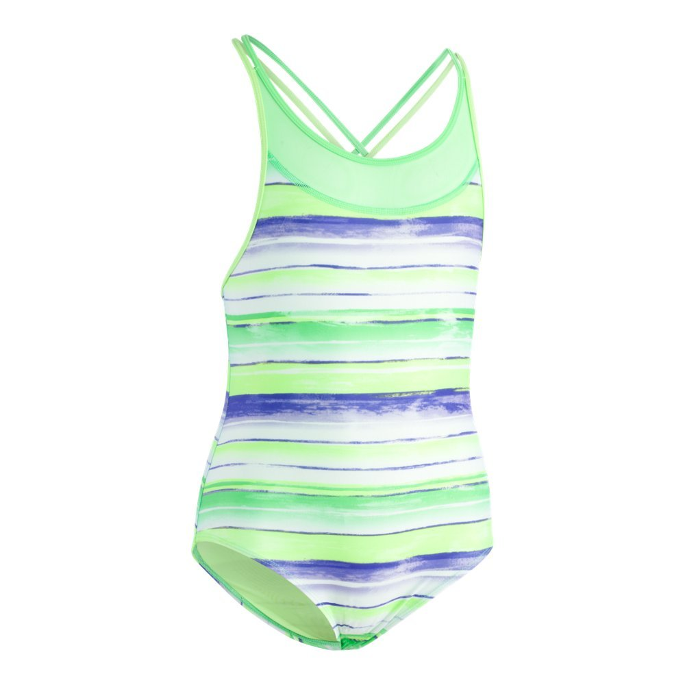 Under Armour Big Girls' One Piece Swimsuit, Quirky Lime, 12