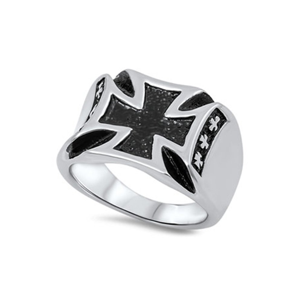 Noureda Stainless Steel Modish Maltese Cross Design with Black Inlay Ring, Face Height of 16MM by Noureda (Image #1)