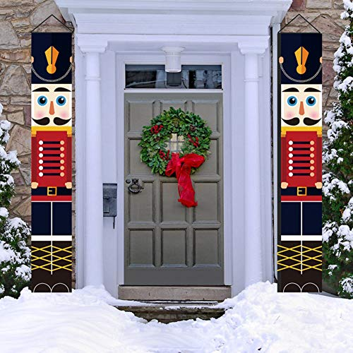 WISREMT Nutcracker Christmas Decorations - Nutcracker Banners - Life Size Soldier Model Nutcracker Porch Signs - Xmas Decor Banners for Indoor & Outdoor Wall Front Door Apartment Party (C-1PC)
