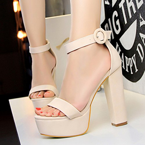 YIBLBOX Womens Ankle Strap Chunky Block High Heel Pump Shoes- Sexy Formal Party Platform Dress Sandal Light Pink jcSWRg5