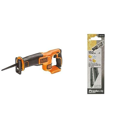 BLACK+DECKER BDCR18N-XJ - Sierra de sable a batería litio 18V, 22mm (Sin batería/cargador) + Black&Decker X21172-XJ - 2 hojas de sierra para madera y ...