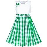 Girls Dress Green Tartan Plaid Sundress Back School Size 7-8