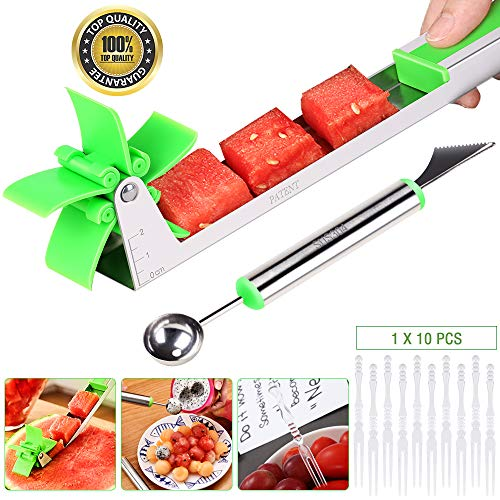 EocuSun Watermelon Slicer, Auto Stainless Steel Melon Cuber Knife, Cutter, Knife-Easy Grip Kitchen Carving and Cutting Gadgets for Home,FDA Approved(Green)