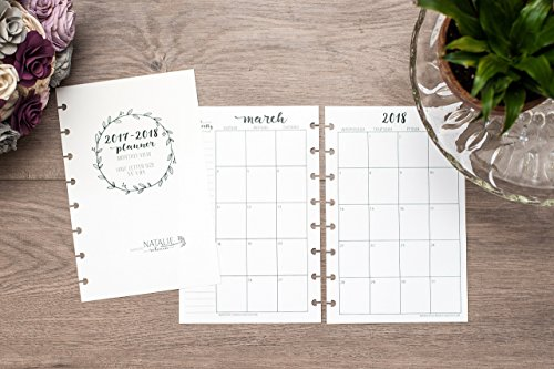BetterNote 2019 Monthly Calendar for Disc-Bound Planners, Fits 8-Disc Levenger Circa Junior, ARC, TUL, Half Letter Size 5.5
