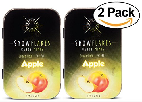 Apple Xylitol Candy Chips (2-Pack) - Snowflakes (2) 50g Tins - Handcrafted with ONLY 2 Ingredients | Diabetic-friendly, Non-GMO, Vegan, GF & Kosher | Purest sugar-free candy in the world!