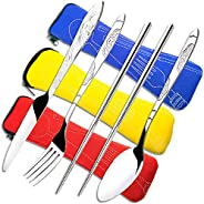 3 Pack Stainless Steel Flatware Sets, CKANDAY 12 Pcs Knife Fork Spoon Chopsticks Set with Carrying Case Rustpr
