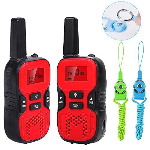 Waitiee dauerhafte kinder walkie - talkies 2 meilen - portable 2 - wege - radio für kinder spielzeug weihnachten im camping wandern (1 paar) (Red) (Red)
