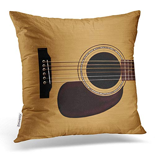 Emvency Square 16x16 Inches Decorative Pillowcases music spruce top acoustic guitar Cotton Polyester Decor Throw Pillow Cover With Hidden Zipper For Bedroom Sofa