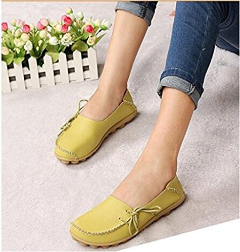 Womens Driving Shoes Cowhide Casual Lace-Up Loafers Boat Shoes Flats Apple-Green vudLq