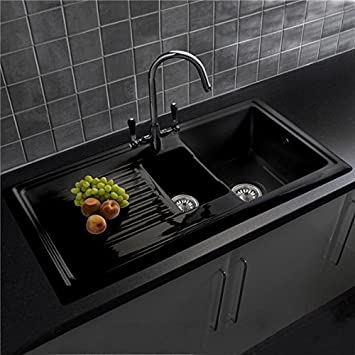 reginox rl401cb 1 5 bowl black ceramic kitchen sink with waste