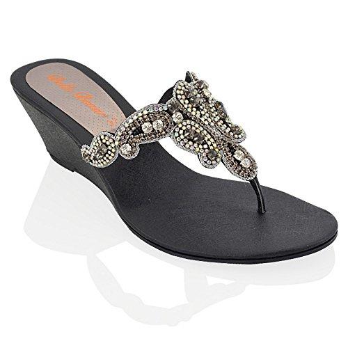 Belle Beaux - Damen Keilabsatz Strasssteine Zehensteg Glitzer Party Sandalen Größe 36 - 41 Silber