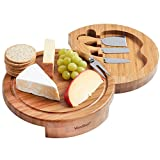VonShef Round Slide Out Bamboo Cheese Board and 4 Piece Knife Set