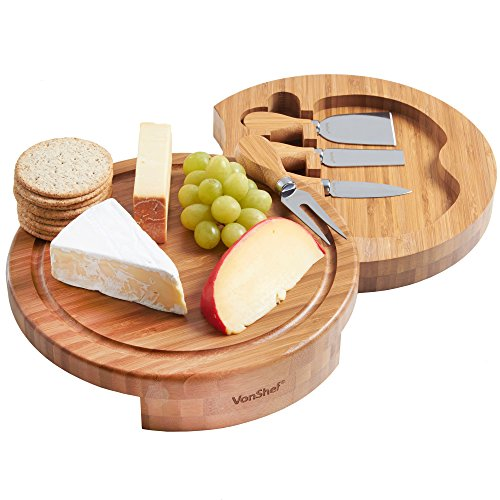 VonShef Round Slide Out Bamboo Wooden Cheese Board and 4 Piece Knife Set, 9.8 inch diameter (Board Cheese Personalized)