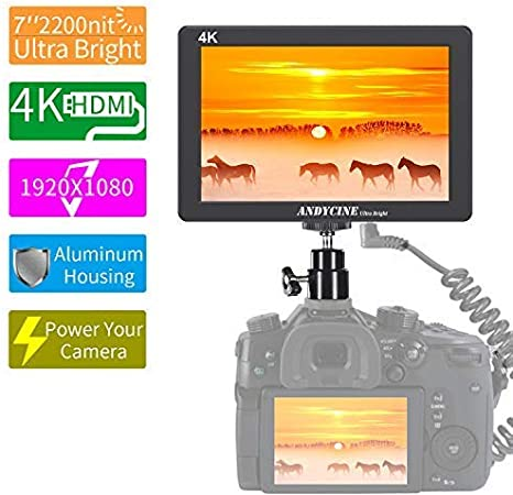 X7 2200nit Daylight Viewable Camera Field Monitor with 4K HDMI Input Output 1920X1200 IPS Panel Aluminum Metal Frame ANDYCINE X7 7Inch Camera Monitor