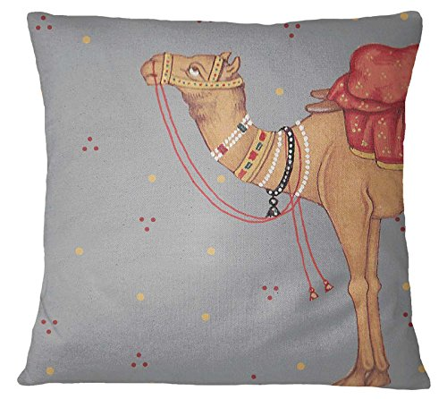 S4Sassy Mughal Camel Print Home Decorative Multicolor Square Cushion Cover Pillow Case -24 x 24 - Mughal Throw