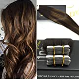 Sunny 22inch 10PCs 25g Two Tone Dark Brown Mixed Honey Blonde Colorful Highlight Seamless Tape in Human Hair Extensions