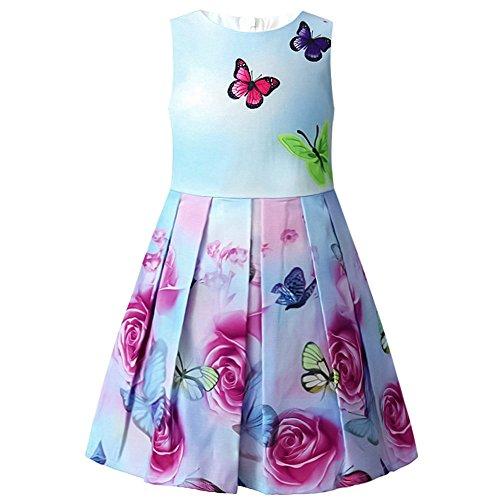 Jxstar Girls Flower Dresses Print Rose Double Bow Party Sund