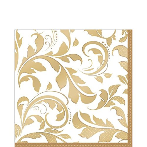 Golden Wedding Party Lunch Napkins Tableware, Saver Pack Of 12 (Each Includes 16 Pieces), Paper, by Amscan by Amscan
