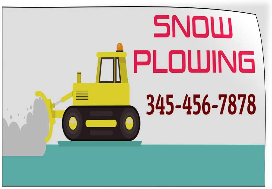 Custom Door Decals Vinyl Stickers Multiple Sizes Snow Plowing Phone Number Snow Plower Business Snow Plowing Outdoor Luggage /& Bumper Stickers for Cars White 45X30Inches Set of 5