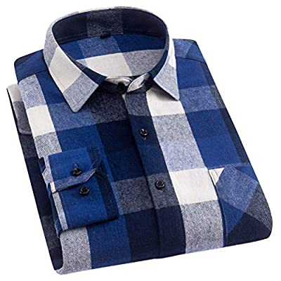 Soojun Men's Plain Long Sleeve Plaid Flannel Dress Shirt