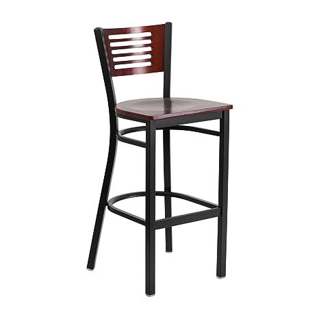 Tremendous Amazon Com Offex Black Decorative Slat Back Metal Squirreltailoven Fun Painted Chair Ideas Images Squirreltailovenorg