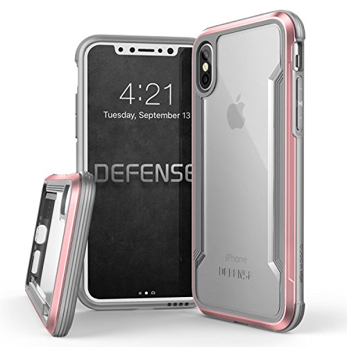 iPhone X, iPhone XS Case, X-Doria Defense Shield Series - Military Grade Drop Tested, Anodized Aluminum, TPU, and Polycarbonate Protective Case for Apple iPhone X, iPhone XS, [Rose Gold]