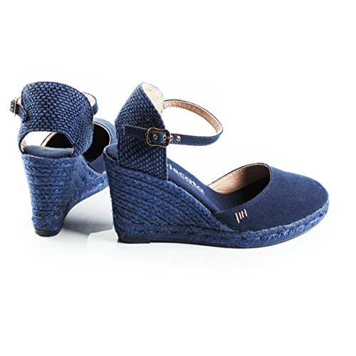 VISCATA Satuna Ankle-Strap, Closed Toe, Classic Espadrilles with 3-inch Heel Made in Spain Navy Jute