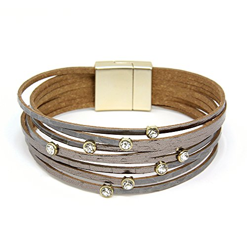 Me Plus Women's Casting Rhinestone Multi Strand Wrap Faux Leather Magnetic Bracelet (Grey)