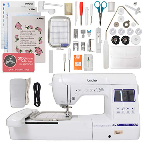 "Brother SE1900 Combination Sewing and Embroidery Machine Bundle with 5""x7"" Embroidery Field and Large Color Touch LCD Screen"
