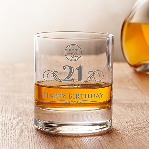 AMAVEL Whiskey Glass - 21st Birthday - Elegant Tumbler - 21 years - Standard - Perfect Birthday Gift for Men - Capacity: 10 oz (Birthday Gifts For A 21 Year Old)