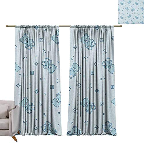 Bedroom Curtains Nursery,Teddy Bears and Toys with Letters on Children Imagery Baby Blue Background, Baby Blue Aqua W96 x L108 Printed Window Curtains for Kitchen