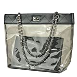 Women Clear Shoulder Purse Transparent Beach Handbag with Chain Volganik Rock NFL Stadium Approved Tote Bag