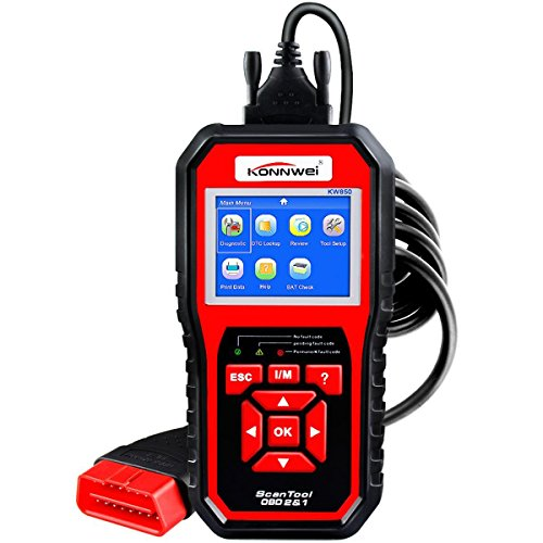 OBDII Auto Diagnostic Code Scanner KONNWEI KW850 Universal Vehicle Engine O2 Sensor Systems Scanner OBD2 EOBD Scanners Tool Check Engine Light Code Reader for all OBD II Protocol Cars Since 1996