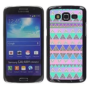 Be Good Phone Accessory // Dura Cáscara cubierta Protectora Caso Carcasa Funda de Protección para Samsung Galaxy Grand 2 SM-G7102 SM-G7105 // polygon blue pink native American