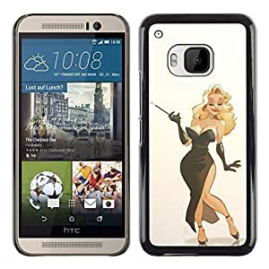 Planetar® ( Sexy Blonde Dress Smoking Woman Lady ) HTC One M9 Fundas Cover Cubre Hard Case Cover