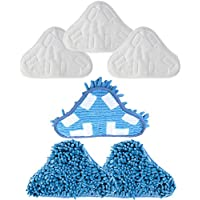 Mumaxun Compatible/Replacement for Microfiber & Washable Mop Head Pads H2O H20 Steam Mop X5 (Size 9.8 x 7.09/ 250mm x 180mm)-(6pcs = 3 x Microfibre Pads + 3 x Coral Microfibre Pads)