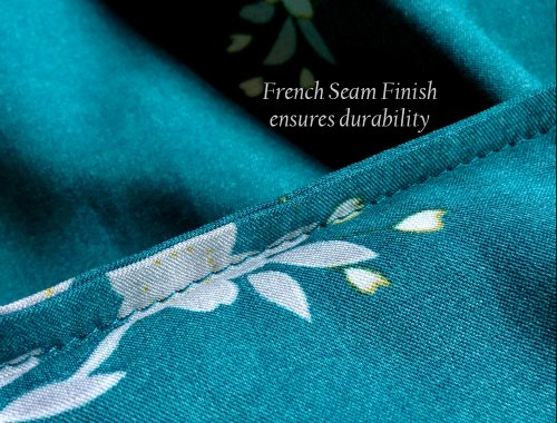 amp; Long Shanghai Pocket Old Peacock Women's Blossoms Robe Aqua seam Kimono On xY7dOqtw