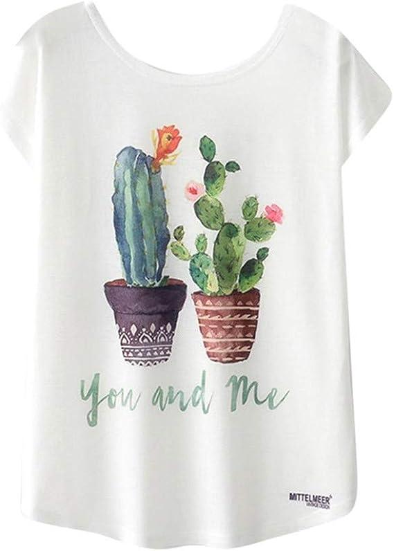 Luckycat Camisetas Mujer Manga Corta Camisetas Mujer Tallas Grandes Camisetas Mujer Verano Blusa Mujer Sport Tops Mujer Verano Casual Blusa Blanco Impresión de la Planta: Amazon.es: Ropa y accesorios
