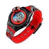 SKMEI Reloj para Niño, Digital, Diseño Infantil, Piloto de Carreras, Hora y Fecha, Auto Giratorio, Modelo 1376. Rojo
