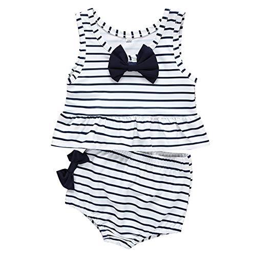 Baby Girl Bikini Striped Beach Swimsuit Ruffles Bathing Suit Swimwear 2 Pcs Set (3-6 Months, Navy Blue)
