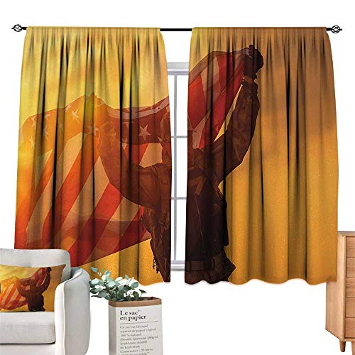 - RuppertTextile Customized Curtains United States,Soldier Celebrating Victory Running with Large American Flag Armed Forces,Multicolor Suitable for Bedroom Living Room Study, etc.63 Wx45 L