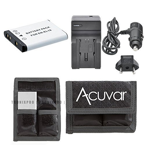 EN-EL19 High-Capacity Battery + Car / Home Charger + Acuvar Battery Pouch For Nikon Coolpix S4100, S4150, S4200, S4300, S5200, S6400, S6500, S6600, S02, S32, S3600, S5300 & More