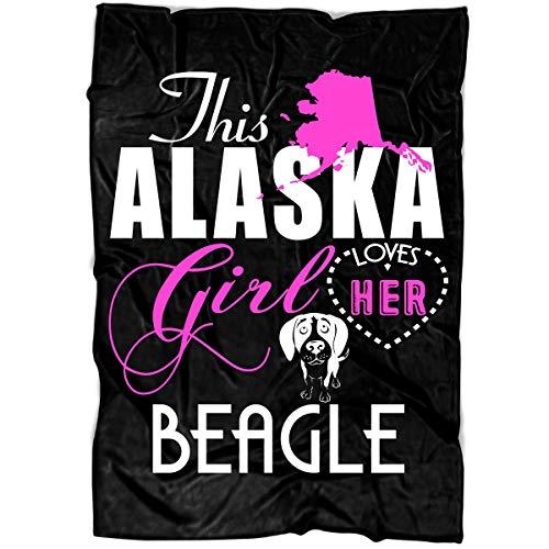 Beagle Fleece - Papaya Tee This Alaska Girl Soft Fleece Throw Blanket, Loves Her Beagle Fleece Luxury Blanket (Large Fleece Blanket (80
