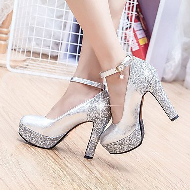 Glitter Women'S Wedding UK4 CN36 Spring Party Heel Evening Silver Heels Sequin amp;Amp; US6 Gold EU36 Buckle Casual Crystal Chunky Summer Fall FrXIqrcwxS