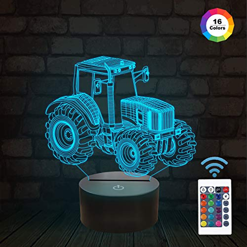 John Deere Remote Control Tractor - 3D Illusion Lamp, Tractor Car 3D