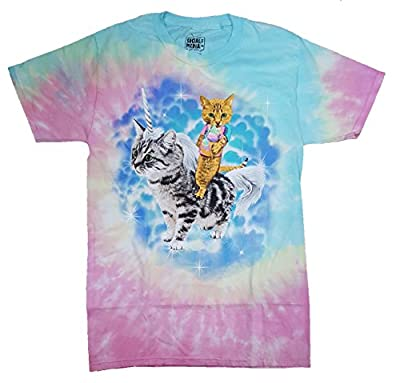Tie Dye Kitty Cat With Ice Cream Cone Riding A Unicorn Cat Graphic Shirt